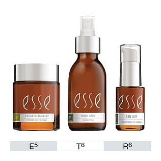 Esse E5 Cocoa Exfoliator + T6 Toner Plus + R6 HA Serum 15ml Set